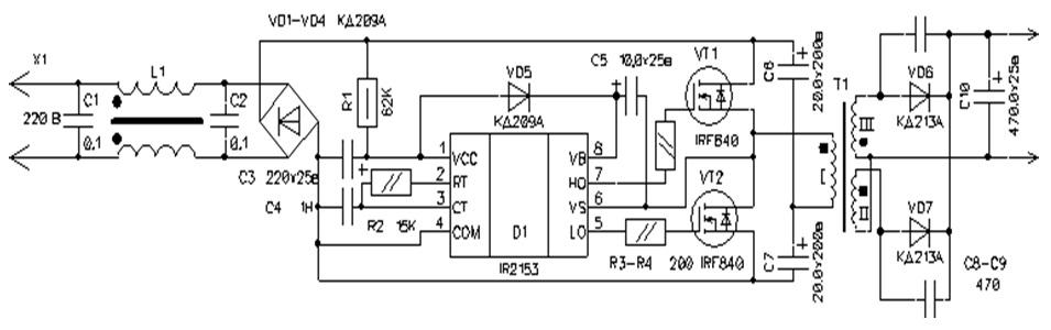 Полумостовой инвертор схема