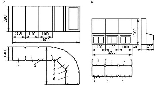 Схемы сочетания панелей: а